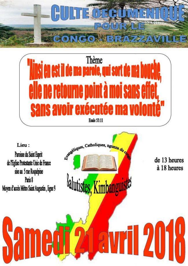 SERVICE CULTUEL OECUMENIQUE ''PRIÈRE POUR LE CONGO-BRAZZAVILLE''