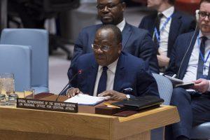Photo ONU/Rick Bajornas Le chef du Bureau régional des Nations Unies pour l'Afrique centrale (UNOCA), François Louncény Fall, devant le Conseil de sécurité de l'ONU (archive)