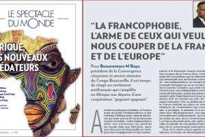 """""""LA FRANCOPHOBIE, L'ARME DE CEUX QUI VEULENT NOUS COUPER DE LA FRANCE ET DE L'EUROPE"""""""