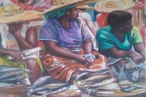 "Illustration toile de l'artiste Peintre Odei Green Nyamekye ""Ballade des Idèes"""